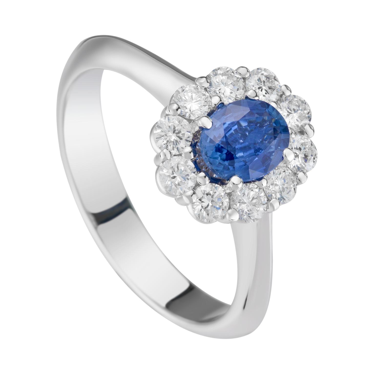 ANELLO CON ZAFFIRO CONTORNATO DA 10 DIAMANTI, World Diamond Group