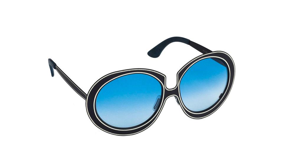 Occhiali da sole Matita asta nera lente blu