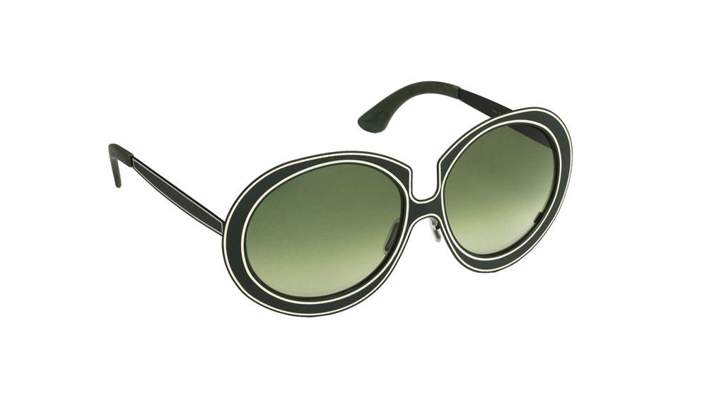Occhiali da sole Matita asta nera lente verde e avorio