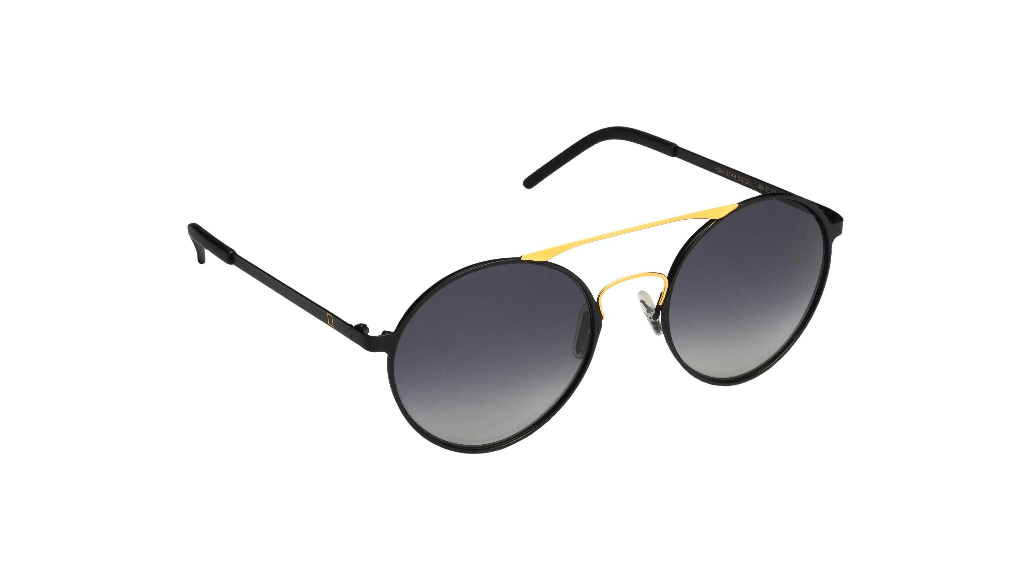 Mediterraneo sunglasses black temple and gold black lens