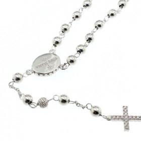 Rosario in argento con zirconi nella medaglietta e nella croce