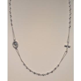 Collana rosario con zirconi bianchi