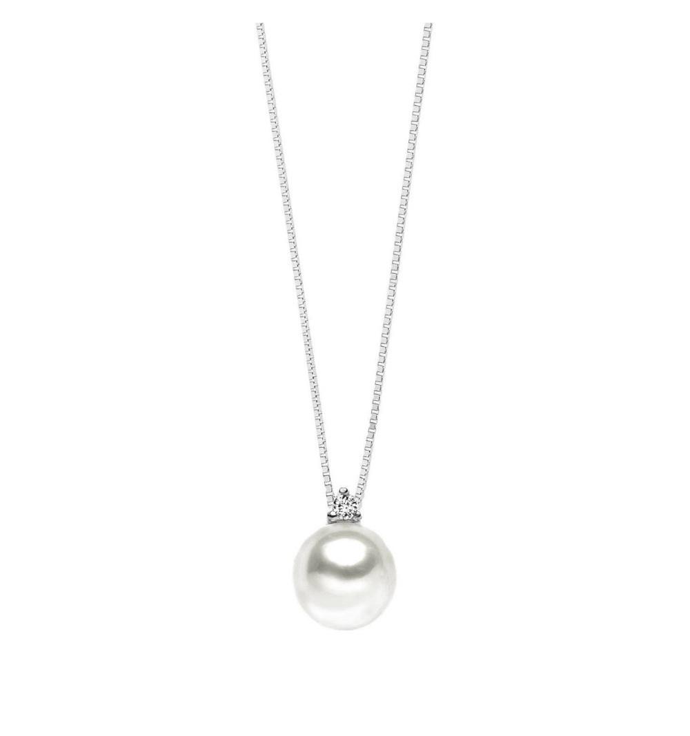 Collana donna con perla e diamante comete gioielli girocollo GLP-521