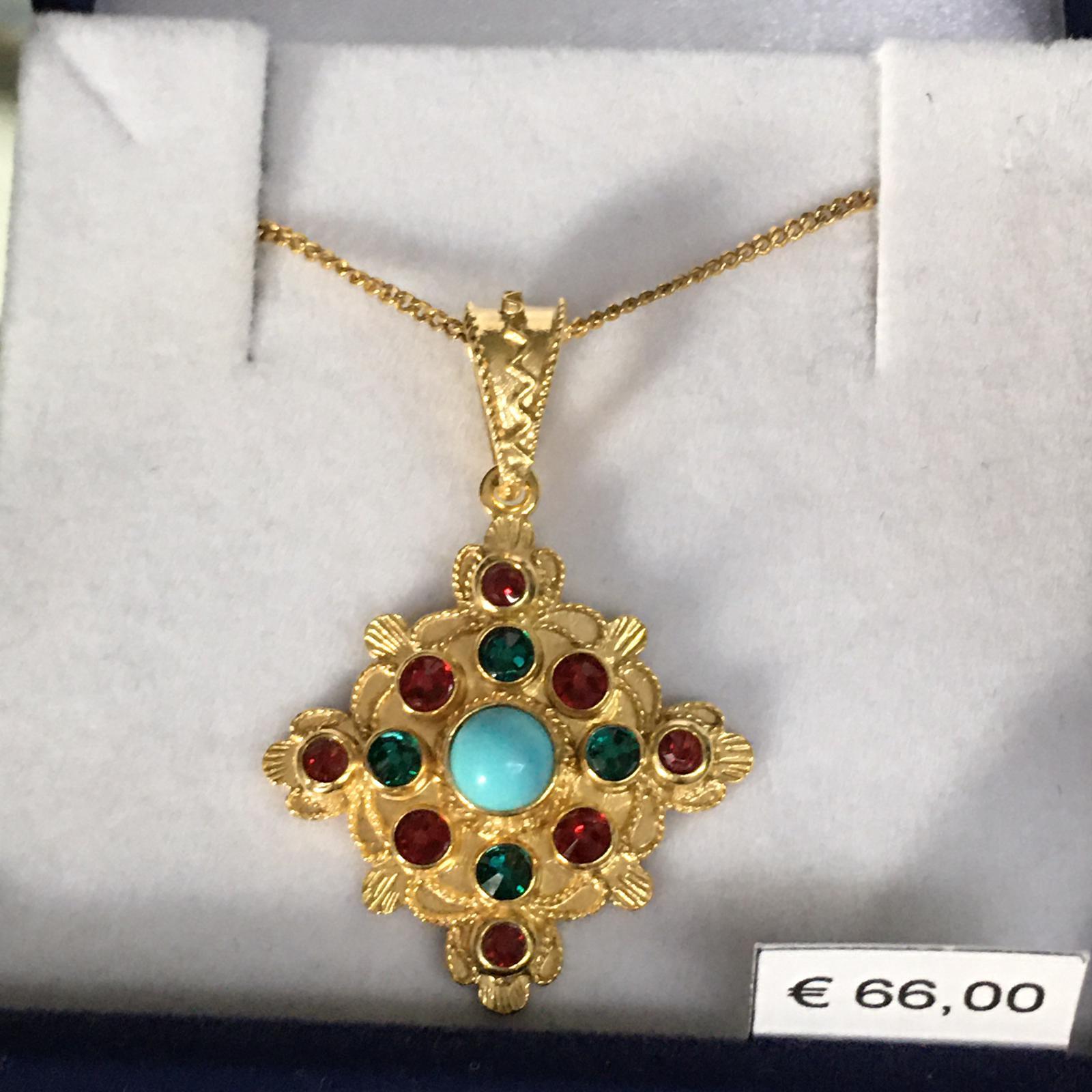 collana con ciondolo in filigrana sarda in argento rodiato giallo Sa Zoiga (la gioia)