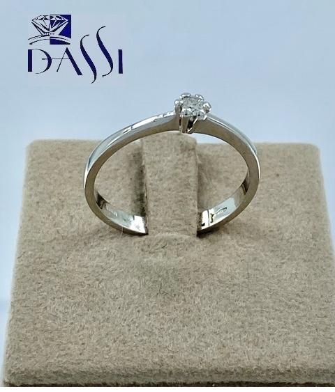 Anello solitario in oro bianco 18kt con diamante da 0.08 kt