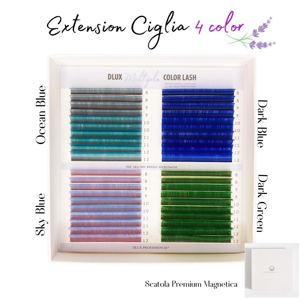 Extensión de pestañas 4 colores -  C 0.07 mix