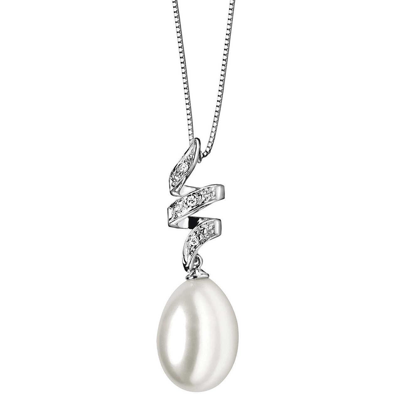 Collana donna Comete in oro bianco con perdente perla e diamanti GLP312