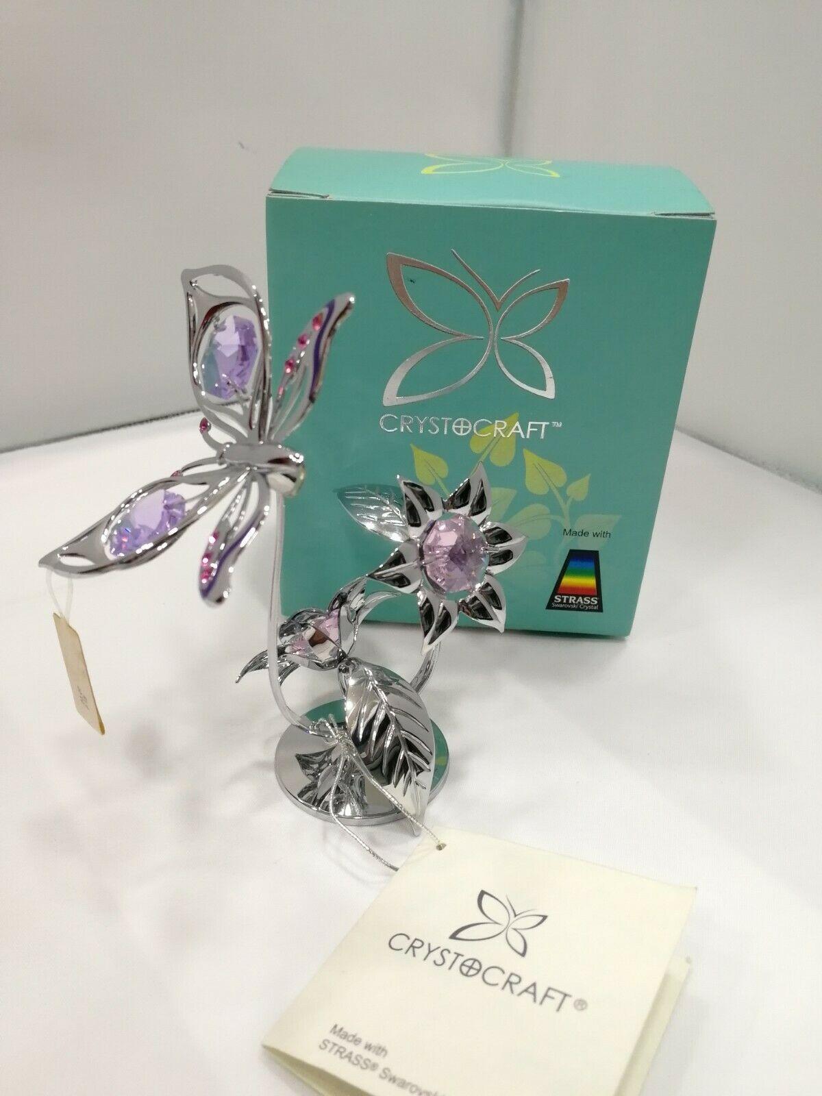 Farfalla con fiori Crystocraft Cristalli Swarovski Original  U0213-001-CVL