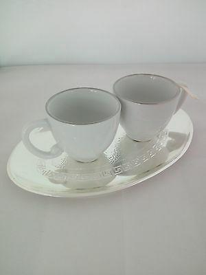 Coppia tazzine caffè con piattino laminato argento 925
