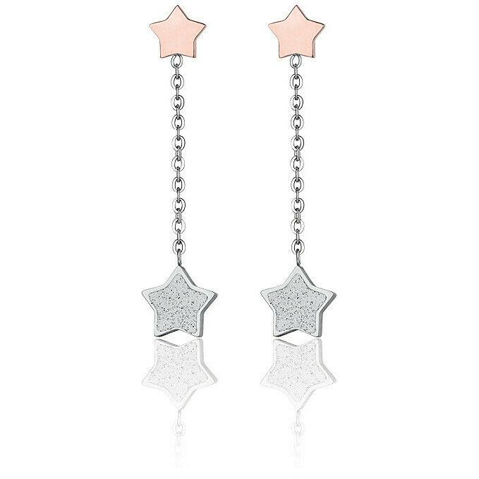 Orecchini donna pendenti in acciaio con stelle rosè e glitter Luca Barra OK1047