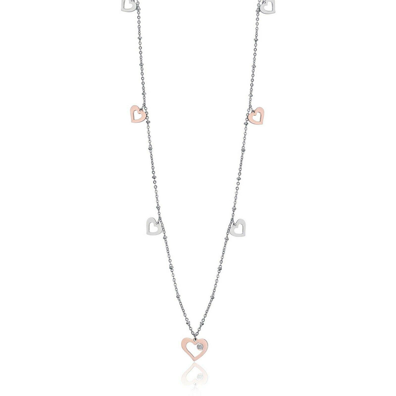 Collana donna lunga in acciaio con ciondoli cuore Luca Barra cK1043