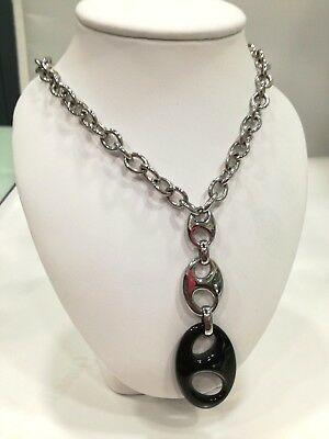 Collana Bliss in acciaio con pendente nero LISTINO 99 20031321 60 cm