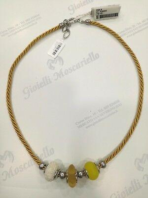 Collana donna Osa cod. 70101 gialla con ciondolo perla di murano