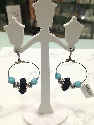 Orecchini donna Osa cod. 70105 blu con ciondolo perla di murano