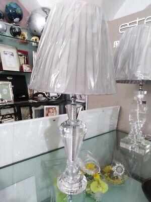 Lampada in cristallo con paralume in tessuto cod. racx4073 Ranoldi