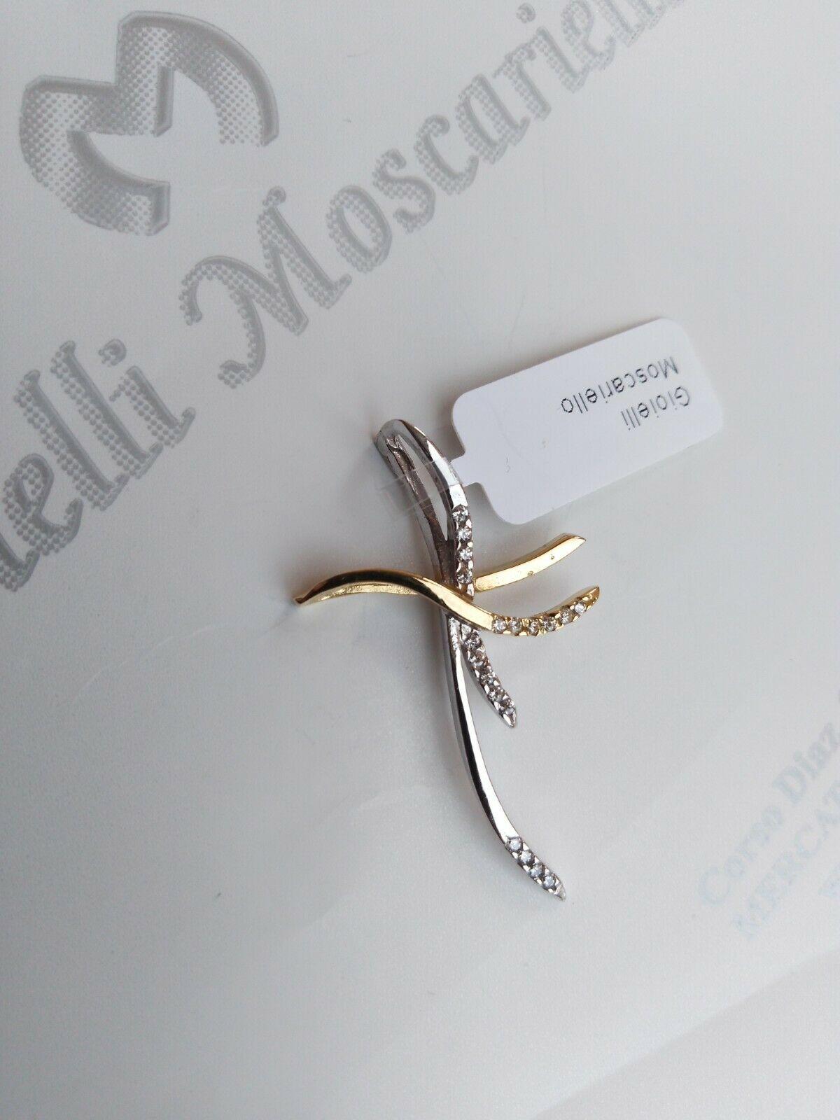 Ciondolo croce in oro bicolore 18 kt 750% con zirconi  Pendent bicolored 24/20