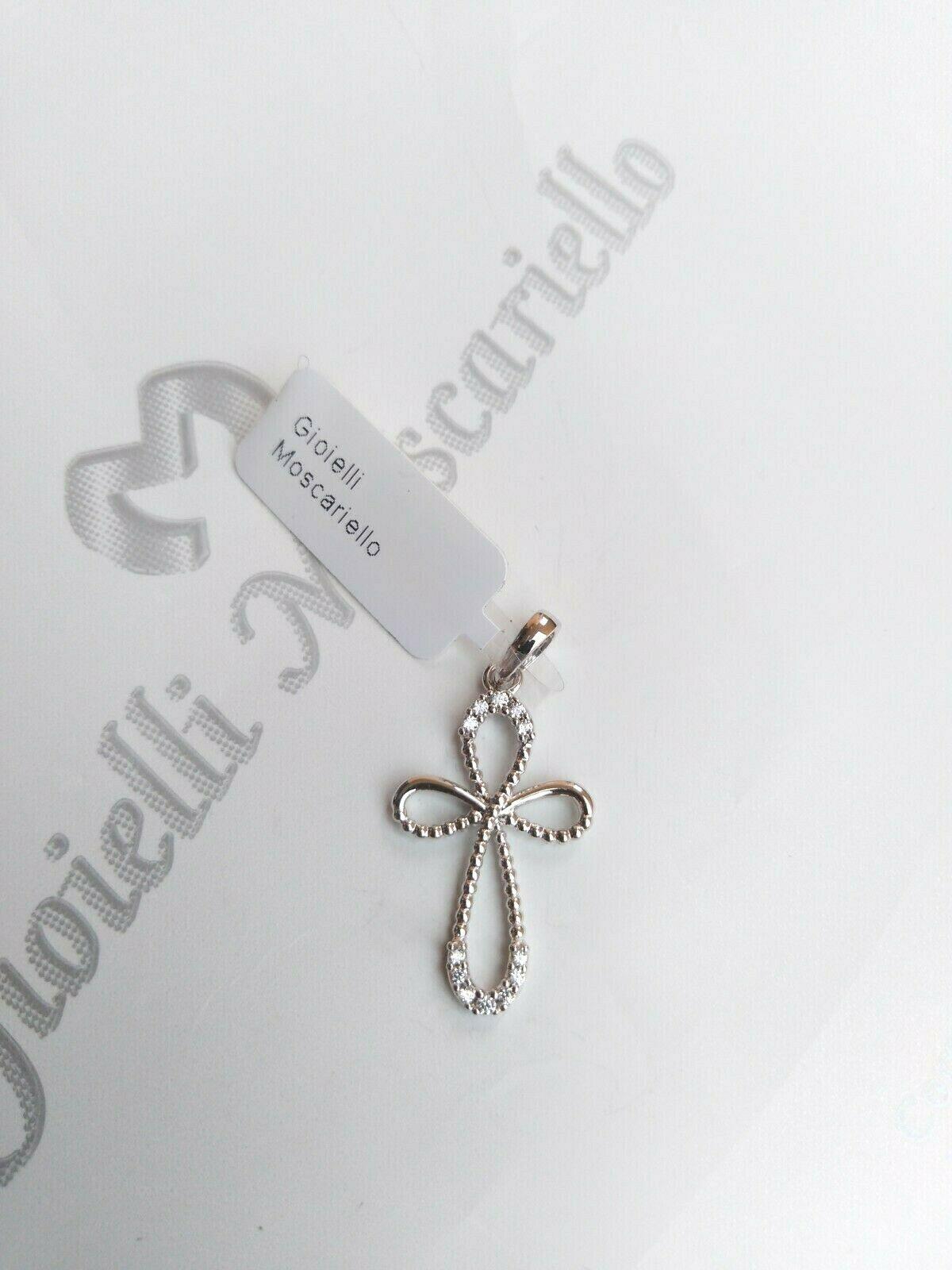 Ciondolo croce in oro bianco 18 kt 750% con zirconi  Pendent white gold 27/20
