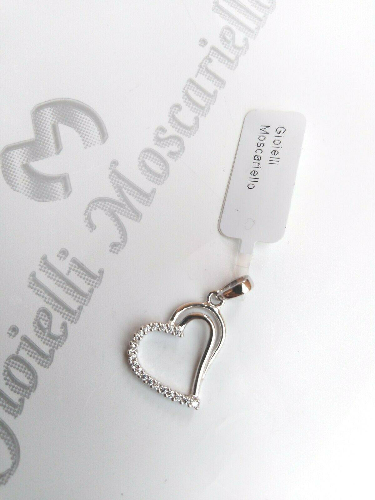 Ciondolo cuore in oro bianco 18 kt 750% con zirconi  Pendent white gold 28/20