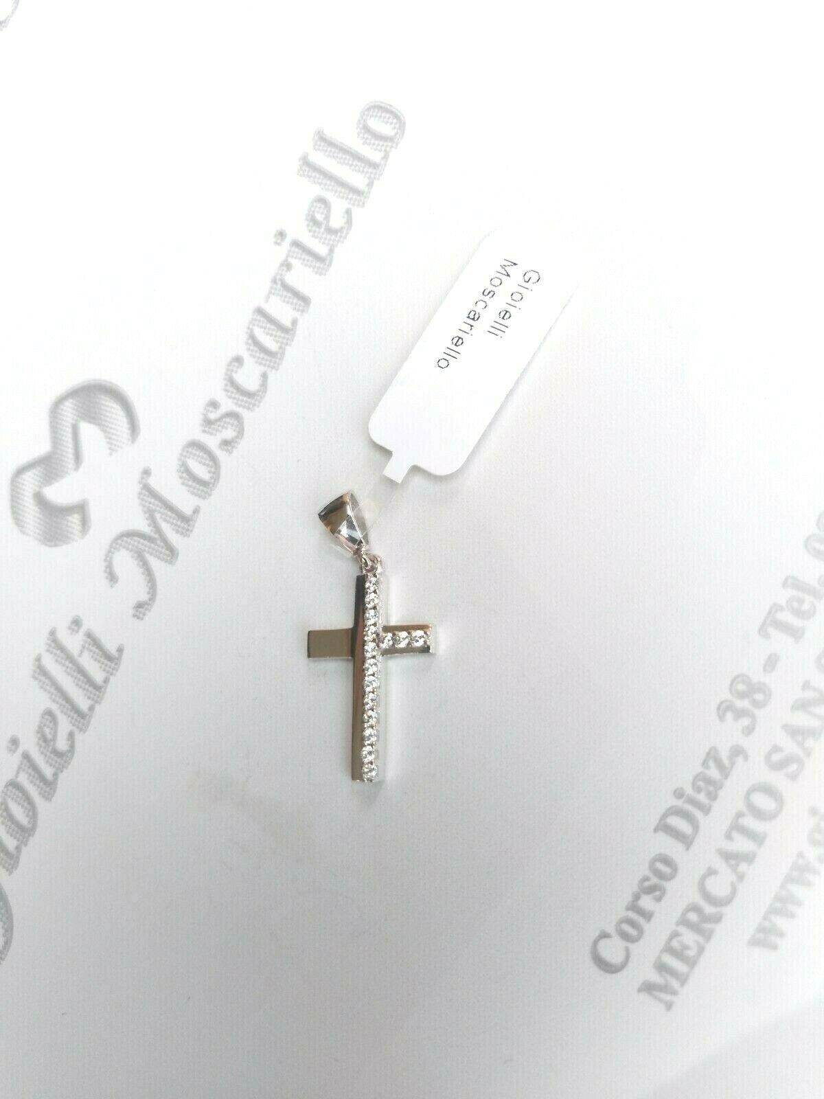 Ciondolo croce in oro bianco 18 kt 750% con zirconi  Pendent white gold 31/20