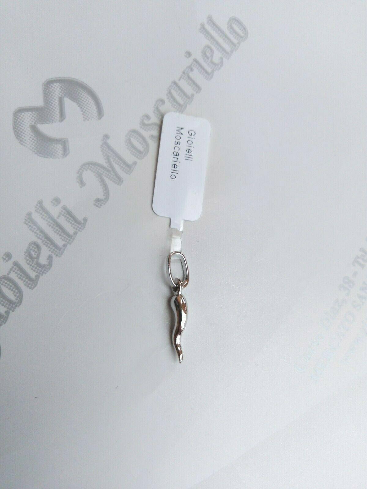 Ciondolo corno in oro bianco 18 kt 750%  Pendent horn white gold 32/20