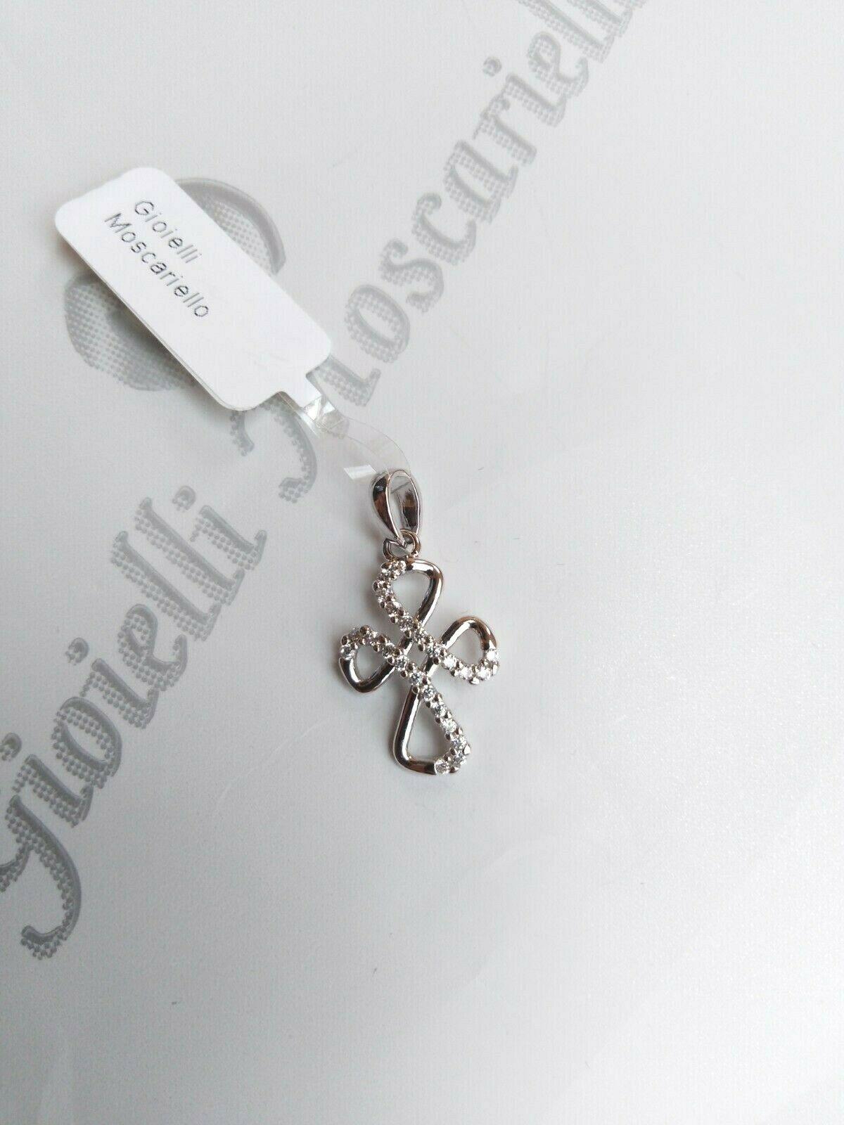 Ciondolo croce in oro bianco 18 kt 750%   Pendent cross white gold 34/20