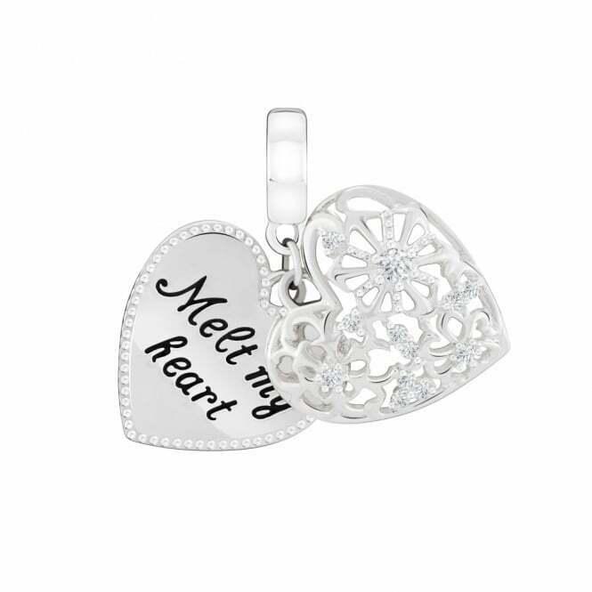 Chamilia Charm in argento 925 Cuore con incisione Melt my heart 2025-2389