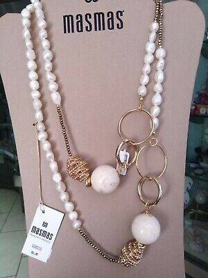 Collana lunga donna con pietre dure bianche MasMas  Made in ITALY CL/109
