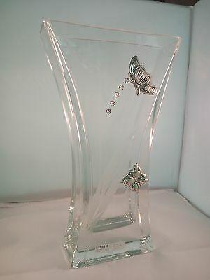 Vaso in vetro Solido con applicazioni laminate argento cod. 060201