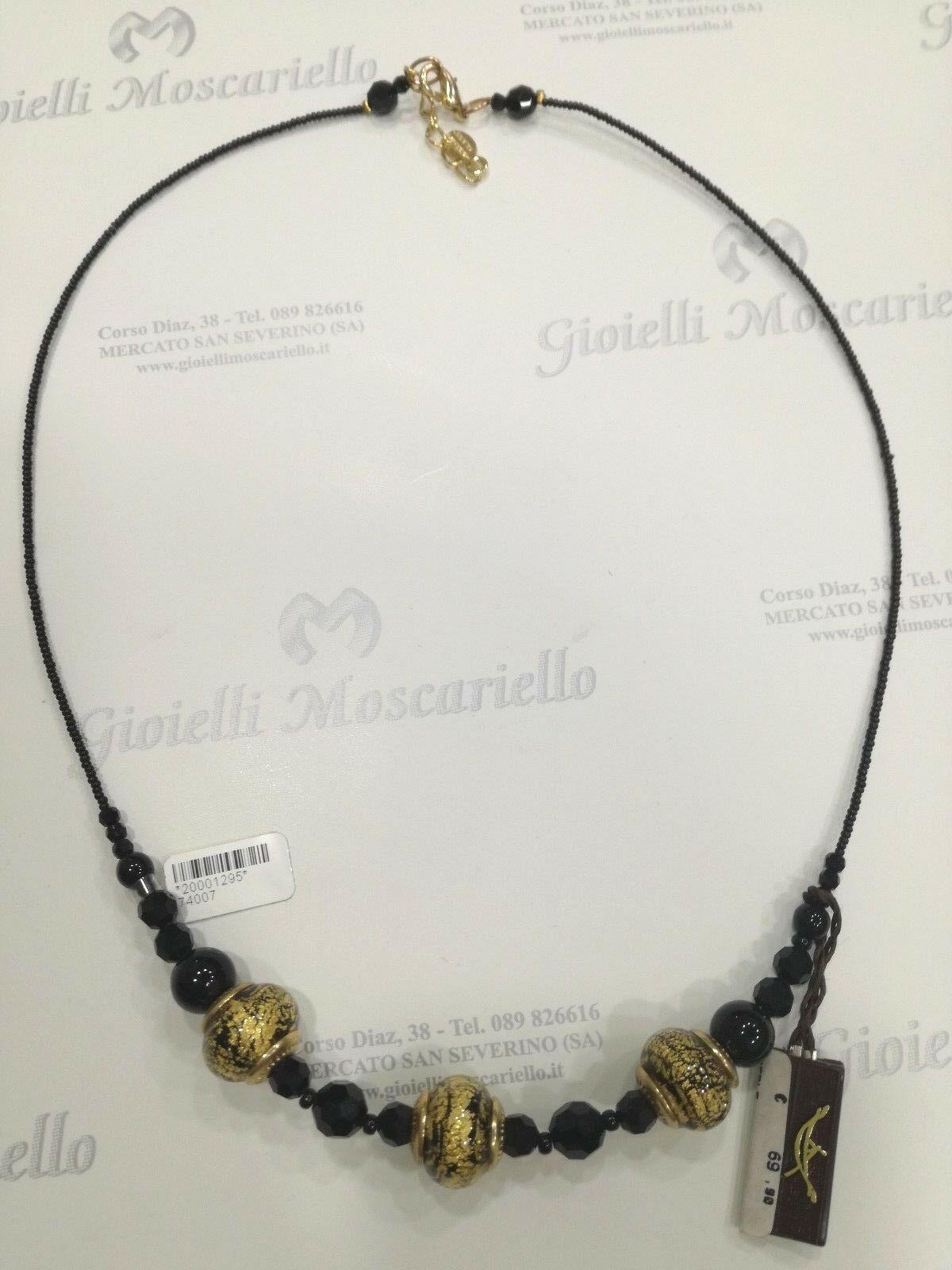 Collana donna La Murrina classica 74007 nera con murano oro LISTINO 69