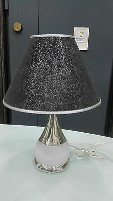 Lampada in argento da tavolo con paralume nero cod. 02