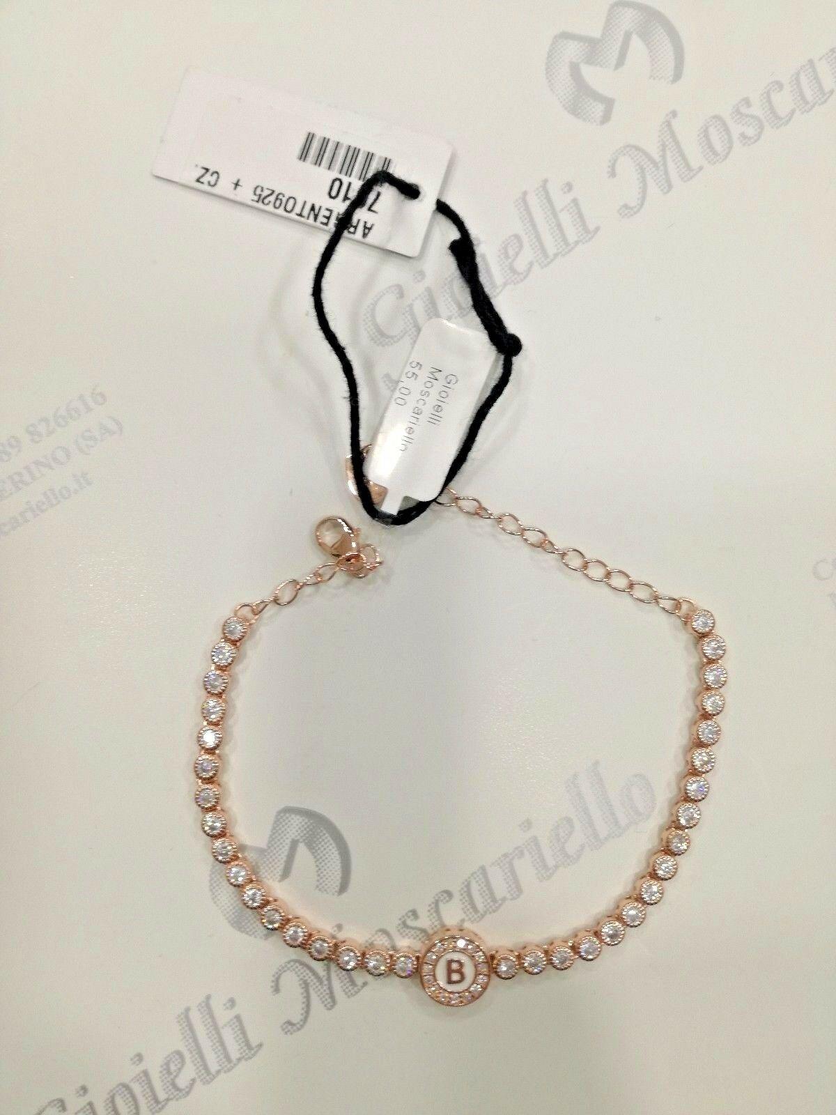 Bracciale Osa Jewel Argento 925 rosè con zirconi e con iniziale B