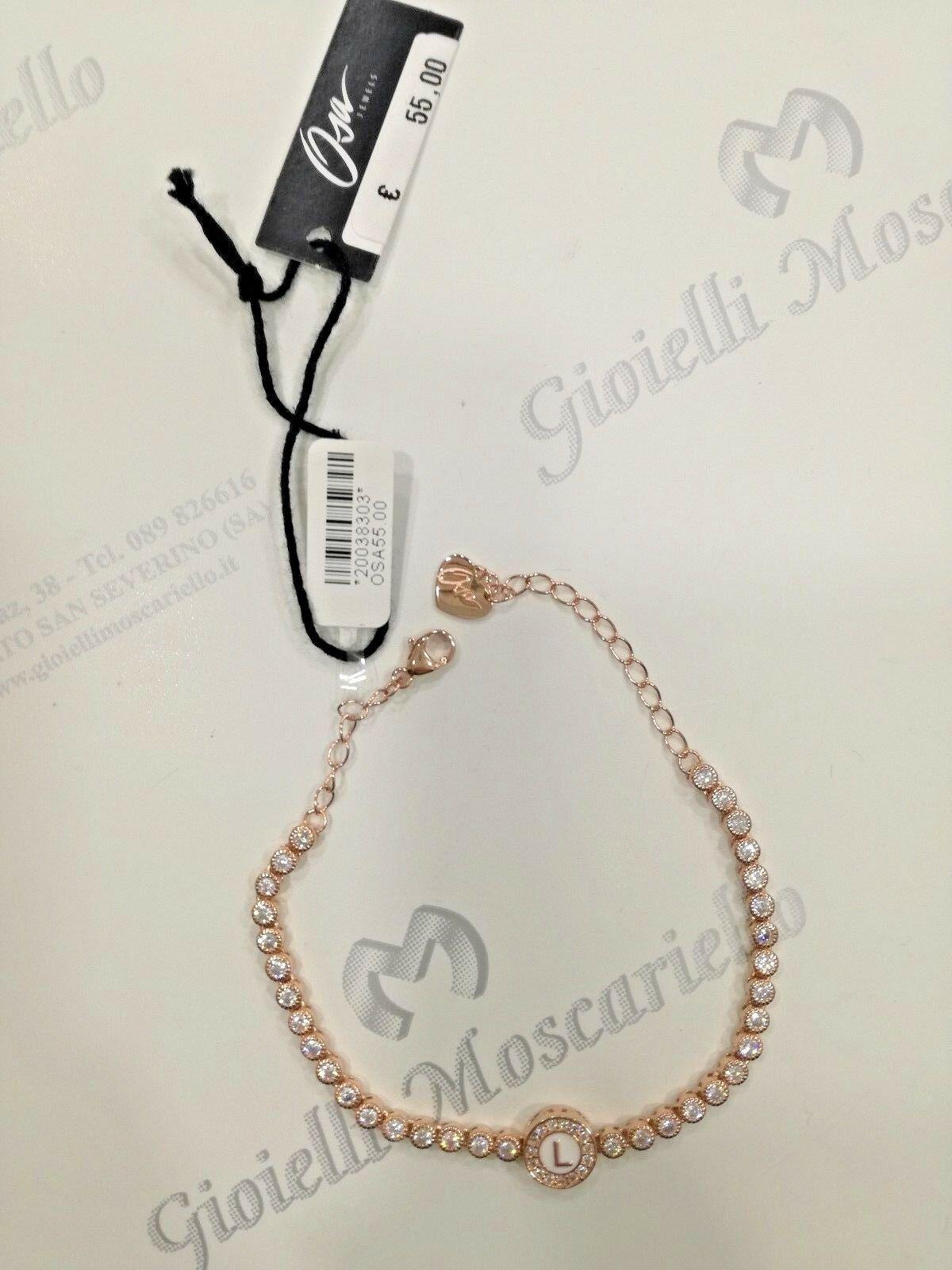 Bracciale Osa Jewel Argento 925 rosè con zirconi e con iniziale L