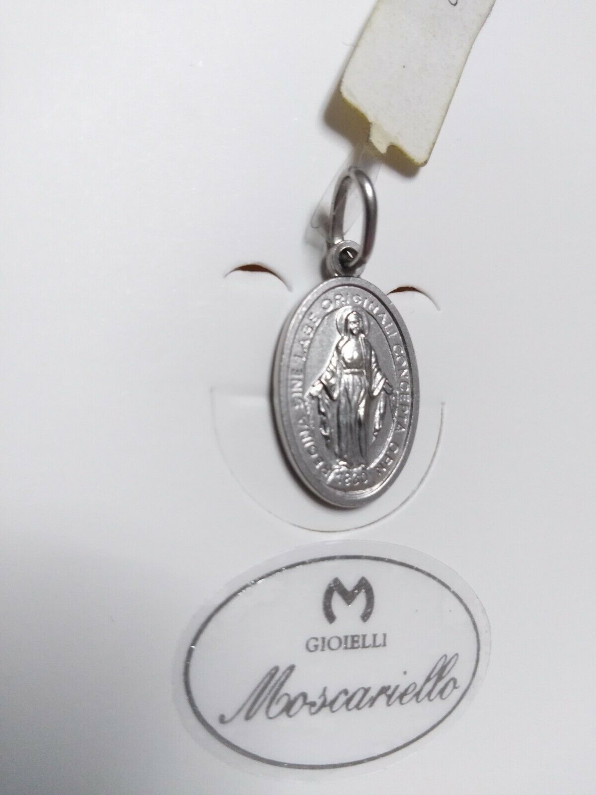 Medaglia miracolosa in oro bianco 18 kt 750%   Pendent Sacred white gold 43/20