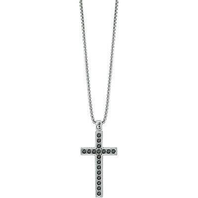 Collierino uomo in argento 925  con croce con zirconi neri Bliss 20085391