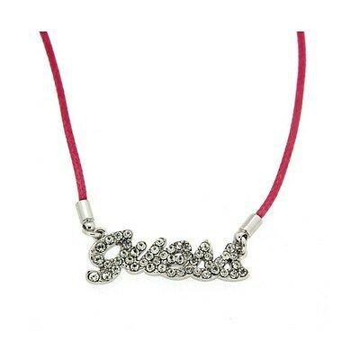 Collana donna Guess con cordino naturale e logo con cristalli cod. UBN21205