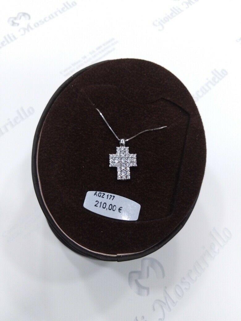 Collana con croce in oro bianco con zirconi 18 kt  750% Ambrosia Gioielli AGZ177