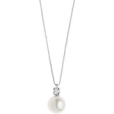 Collana oro bianco 750% con perla e diamante Comete Gioielli GLP570