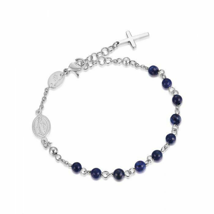 Bracciale rosario in acciaio Luca Barra con sfere in cristallo nero BA1077
