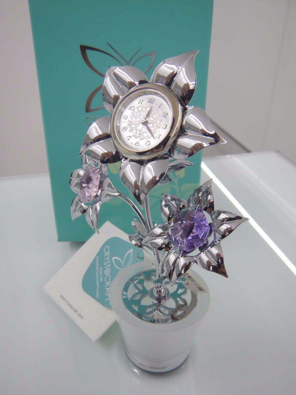 Tris fiore con orologio Crystocraft Cristalli Swarovski Original U0312-142-CM101