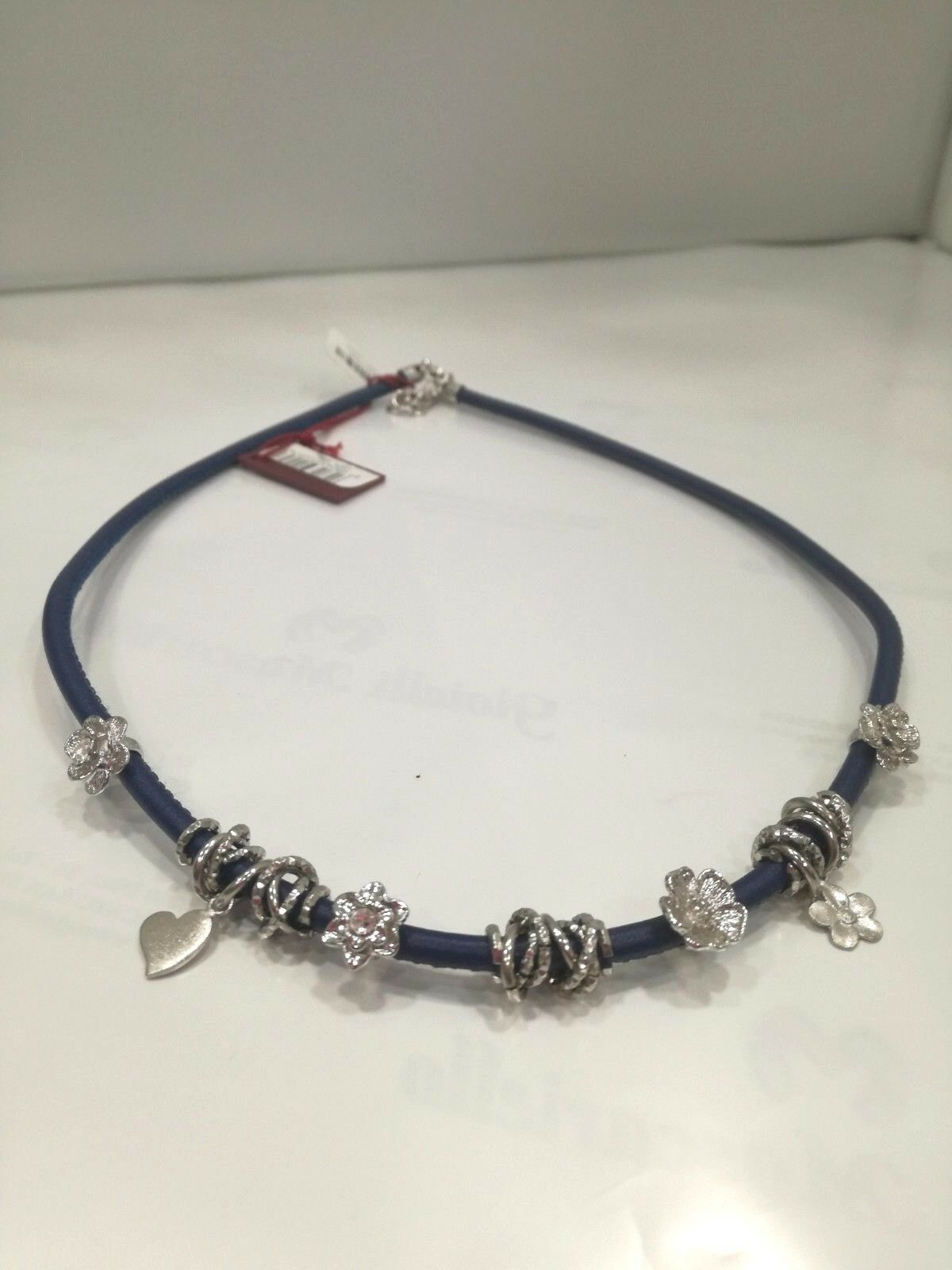 Girocollo Collana donna in pelle blu con charm L2271_0002 LISTINO 49
