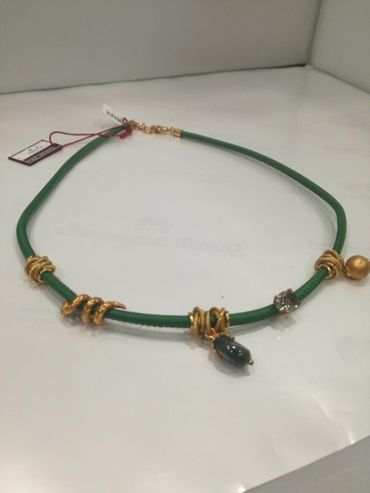 Girocollo Collana donna in pelle verde con charm L2271_0603 LISTINO 49