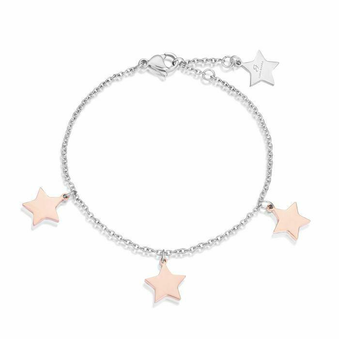 Bracciale donna Luca Barra in acciaio con stelle pendenti rosè  BK1663