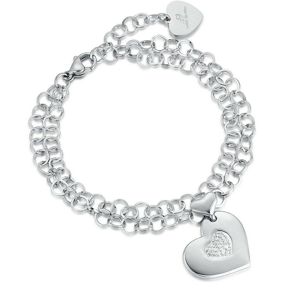 Bracciale donna Luca Barra in acciaio con cuore pendente con cristalli  BK1899