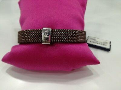 Bracciale STREET BAND Bliss elastico acciaio marrone con diamantino LISTINO 79