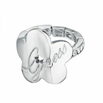 Anello acciaio donna semiflessibile e logo Guess cod. UBR11104-L