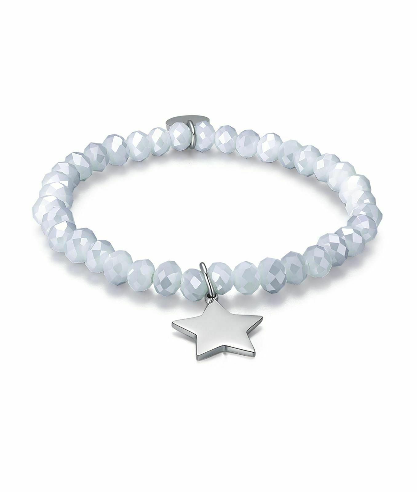 Bracciale donna Luca Barra con cristalli grigio e ciondolo stella acciaio BK1763
