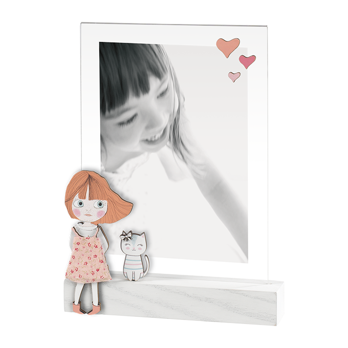 Mascagni Portafoto  in legno e acrilico idea regalo nascita bimba A1135