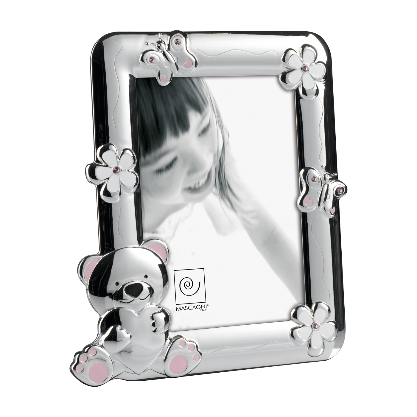 Mascagni Cornice portafotoin metallo lucido con orsetto e decorazioni rosa A186