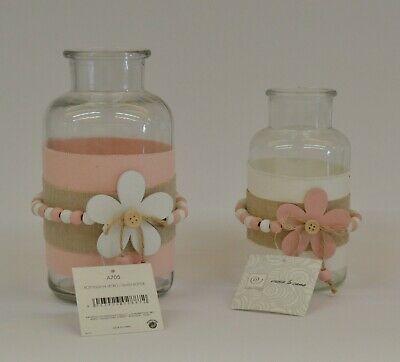 Set 2 vasi bottiglie in vetro Mascagni con decorazioni rosa tortora A705