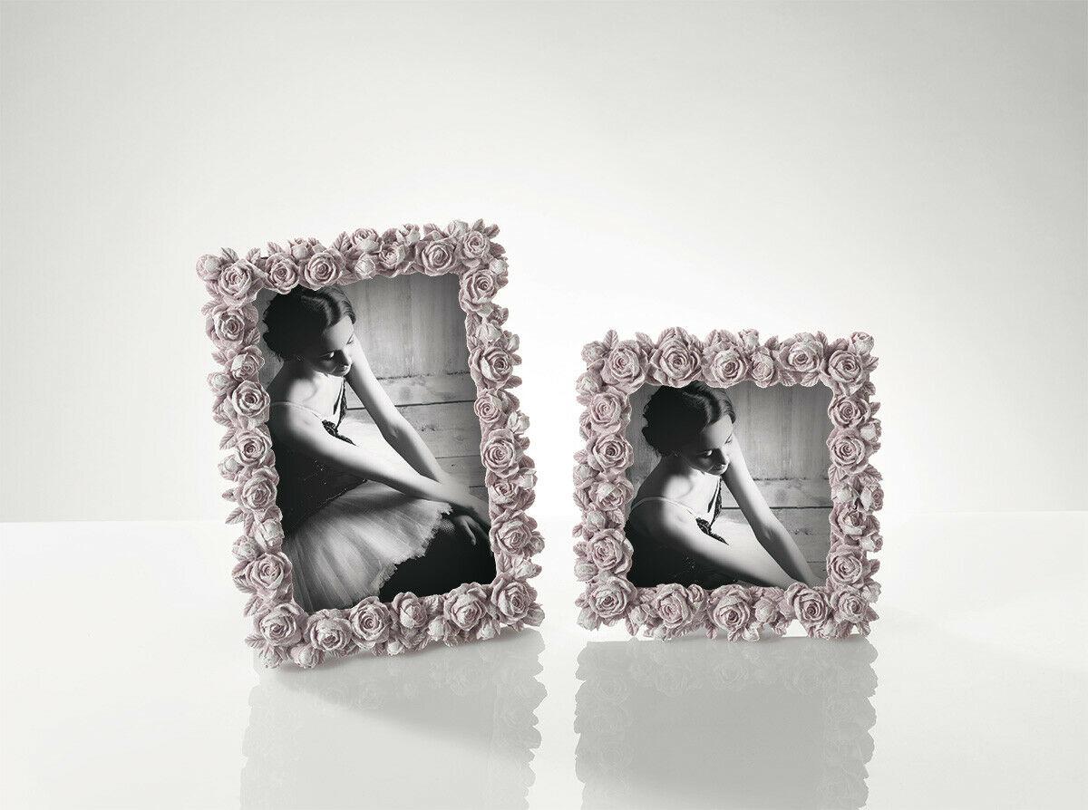 Cornice in resina rosa con fiori Mascagni foto 10x15 cm O1493